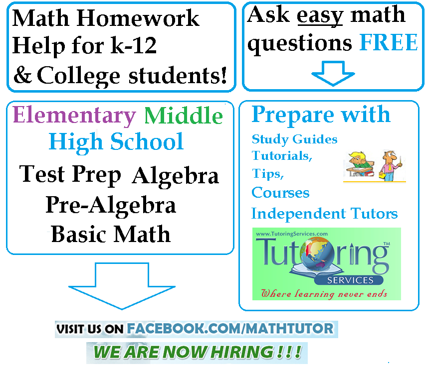 algebra help online Free math lessons and math homework help from basic math to algebra, geometry and beyond students, teachers, parents, and everyone can find solutions to their math problems instantly.